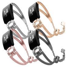 Stainless Steel Jewelry Watch Strap For Fitbit Inspire / Inspire HR Smart Watch Strap Bracelet Repla