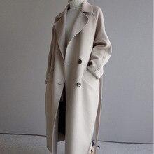 Hiver Beige élégant mélange de laine femmes mode coréenne noir longs manteaux Vintage minimaliste laine pardessus Camel surdimensionné vêtements