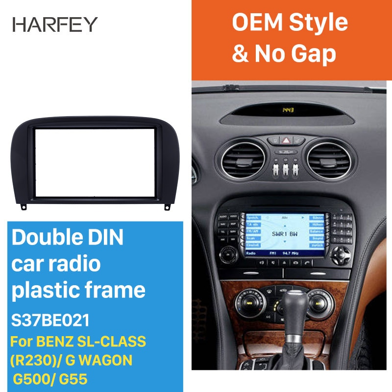 Harfey Kit de montaje Fascia kit de Panel de placa de cubierta de Radio de coche para Mercedes Benz SL clase (R230) G carro G500 G55 en Ajuste de bisel de tablero