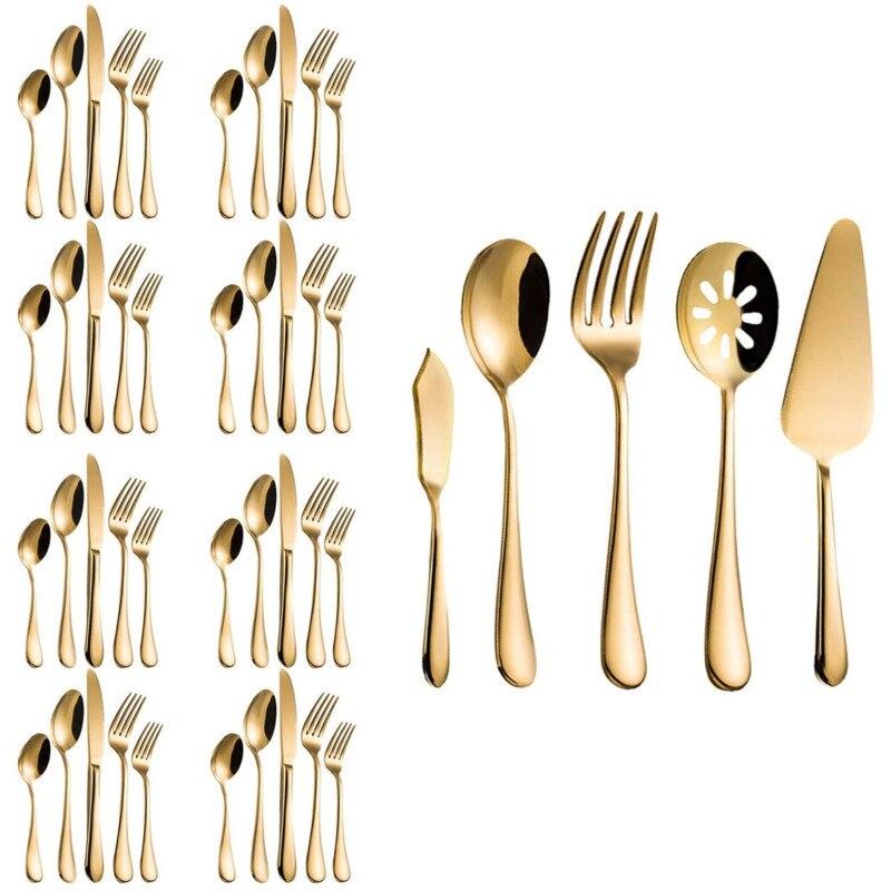 طقم ملاعق عصري ملكي 45 قطعة ذهبي ستانلس ستيل أدوات مائدة لمهرجان الزفاف خدمة حفلات الكريسماس من أجل 8 هدايا