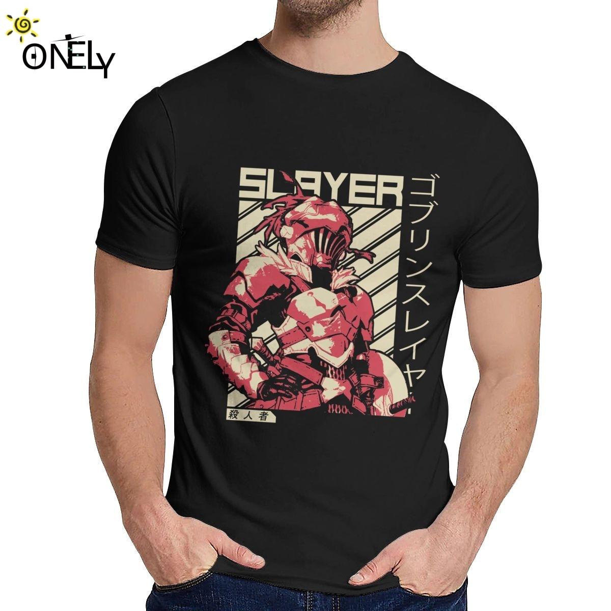 Goblin slaye anime t camisa crewneck elegante retro masculino 100% algodão plus size t camisa