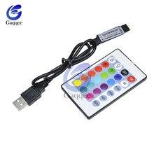 Télécommande sans fil RF bande Led USB lumières 5, 12, 24 V, rvb, USB IR, bande LED USB lumières, clé 3/17/24