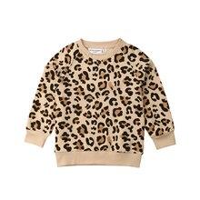 Sweat-shirt chaud à manches longues avec imprimé léopard pour enfants filles et garçons, vêtements chauds, 1- 7T, nouvelle collection 2019