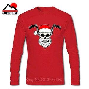 Fashion Cool Casual Santa Biker Hip Hop Parody Christmas T Shirts BIKER Long Sleeves SKULL Motorcycle Streetwear Geek Tee Shirt