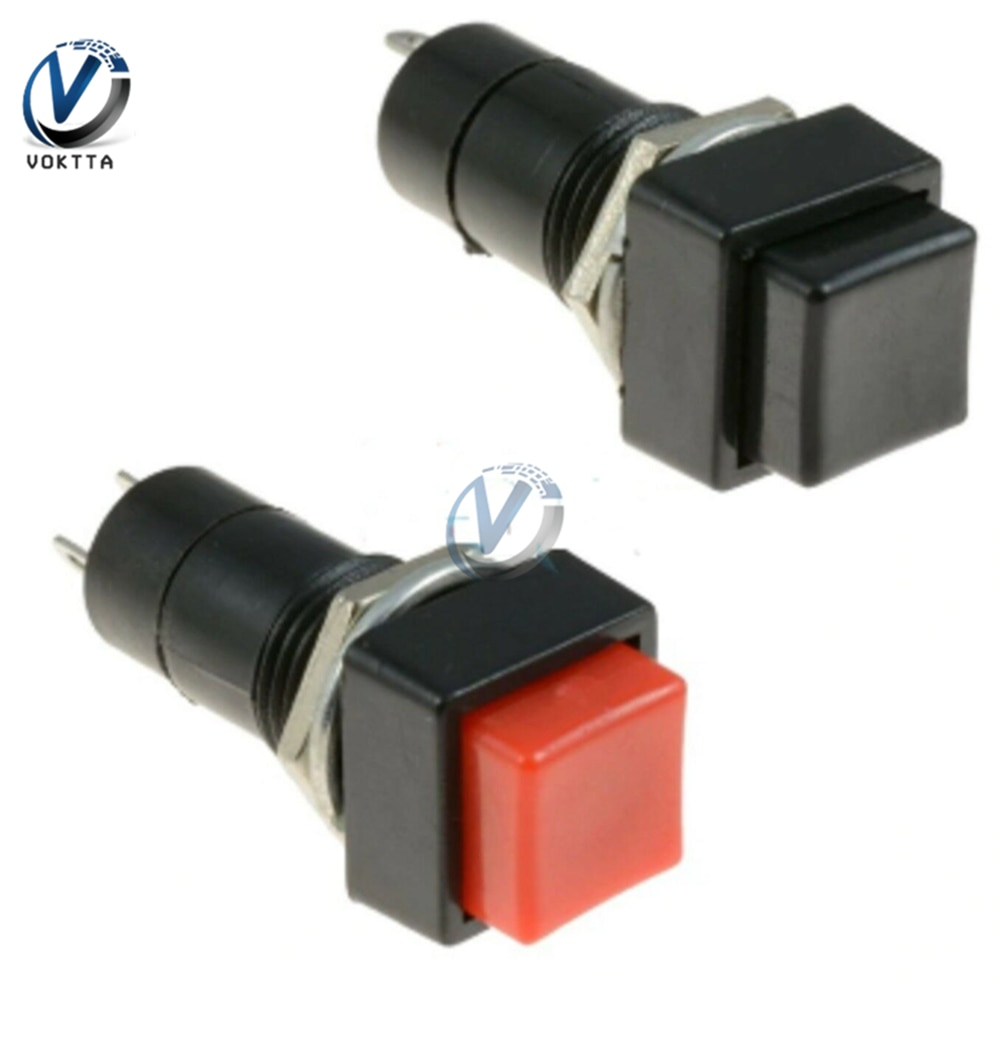 5 unids/lote interruptor momentáneo de resorte de 12mm 2 pines botón momentáneo cuadrado interruptor rojo o negro 3A 250V apagado