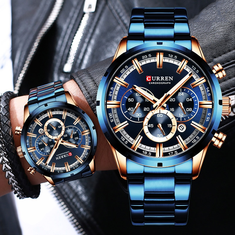Curren Men's Watch Blue Dial Stainless Steel Band Date Mens Business Male Watches Waterproof Luxuries Men Wrist Watches for Men