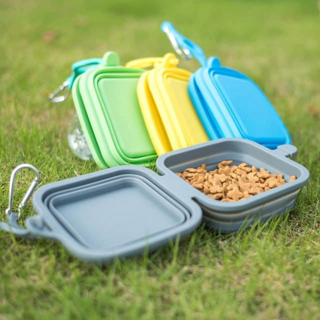 Foldable Bowl Dish For Dogs Cat Outdoor Pet Feeder Portable Pet Product Travel Collapsible Silicone Pets Bowl Food Water Feeding