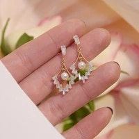 new pearls stud earrings for women luxury jewelry designer creativity geometry inlaid aaa zircon high quality s925 needle gift