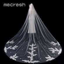 Mecresh 3M une couche cathédrale voile de mariage avec peigne accessoires de mariée Beige dentelle fleur appliqué longue mariée voiles VTS009