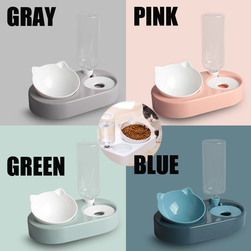 2-in-1 Cat Bowl Water Dispenser Automatic Water Storage Pet Dog Cat Food Bowl Food Container with Waterer Pet Waterer Feeder
