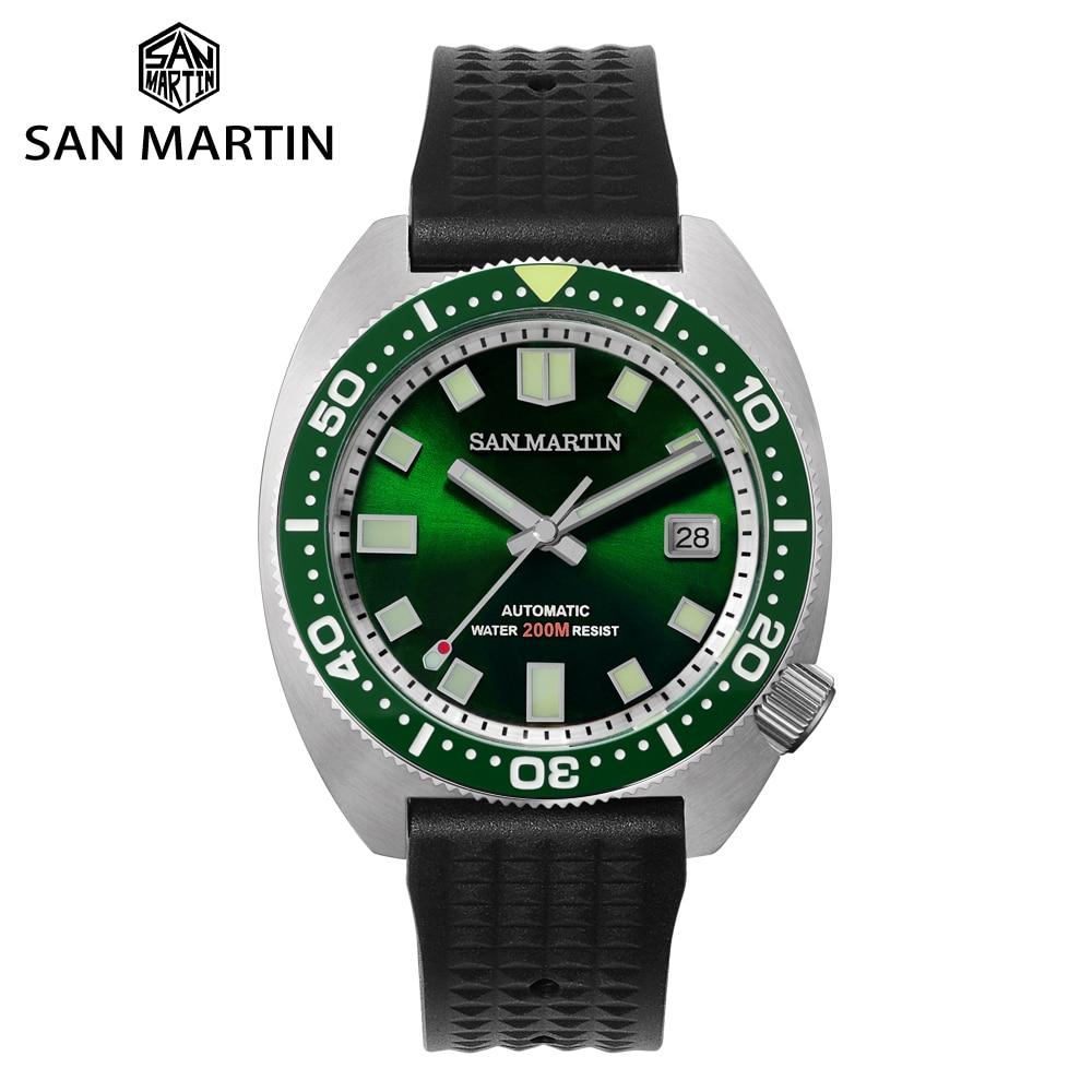 سان مارتن ساعة رجال ستانلس ستيل غواص 6105 NH35 التلقائي الميكانيكية ساعة بحزام مطّاطي الياقوت الزجاج 20Bar مقاوم للماء مضيئة