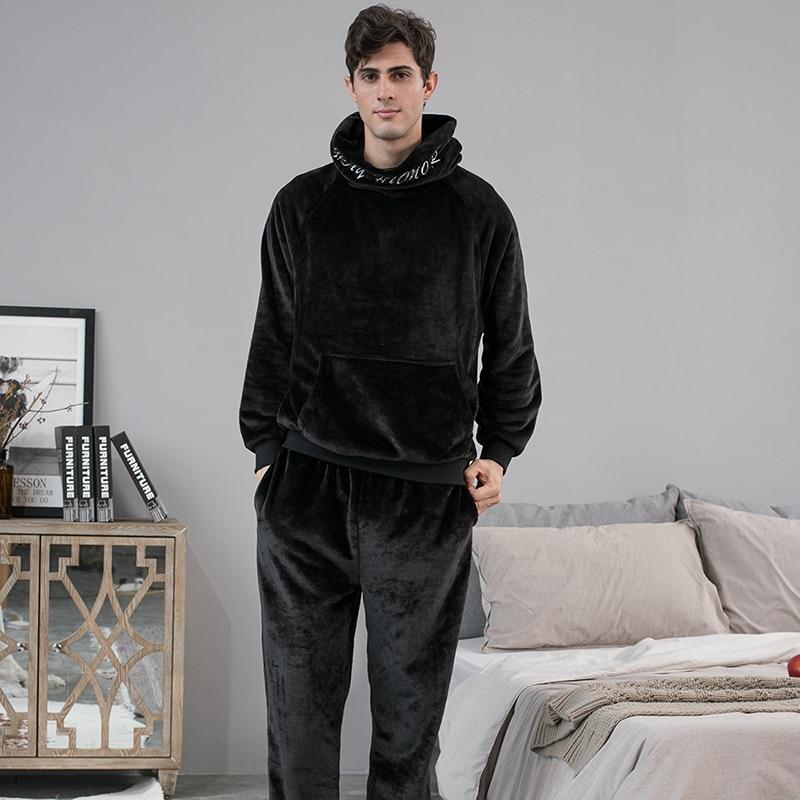 ATUENDO Winter Warm Pure Velvet Pyjamas Sets for Man Atoff Home Flannel Soft Men% 27s Пижамы Костюмы Fashion Plush Male Nightwear