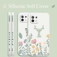 summer for xiaomi mi 11 ultra 11i 10t 9t pro case flower liquid soft cover 10 10s 9 8 lite pro poco f2 x2 f3 pro phone case