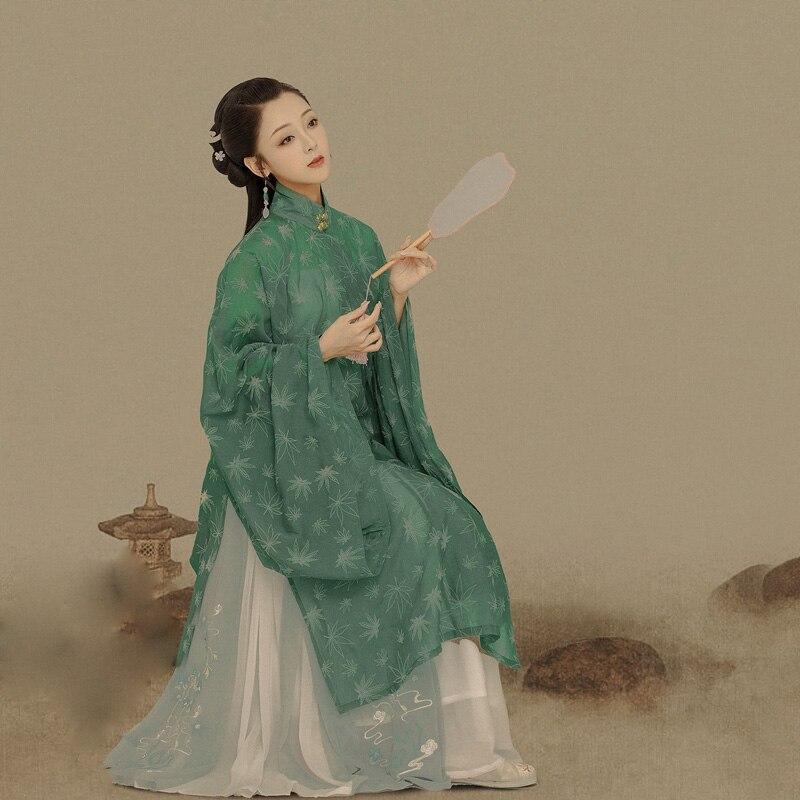 Zhai شينغ تشي الضوء الأخضر مينغ سلالة واسعة الأكمام زي Hanfu الموضوعية التصوير Hanfu الكلاسيكية الرقص Hanfu تأثيري الدراما