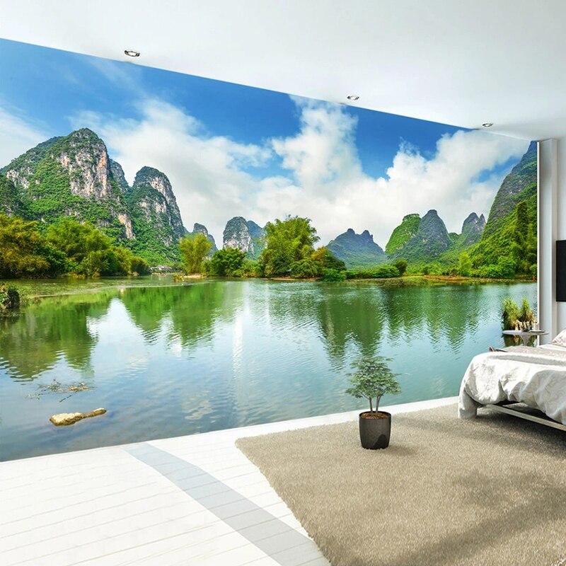 Пользовательские 3D фото обои Зеленая гора вода ПРИРОДНЫЙ пейзаж роспись картины для гостиной спальни стены домашний декор живопись