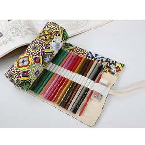 Fashion Pattern Canvas Roll-up Pencil Wrap 36/48/72 Holes Travel Drawing Coloring Pencils Pouch for Artist