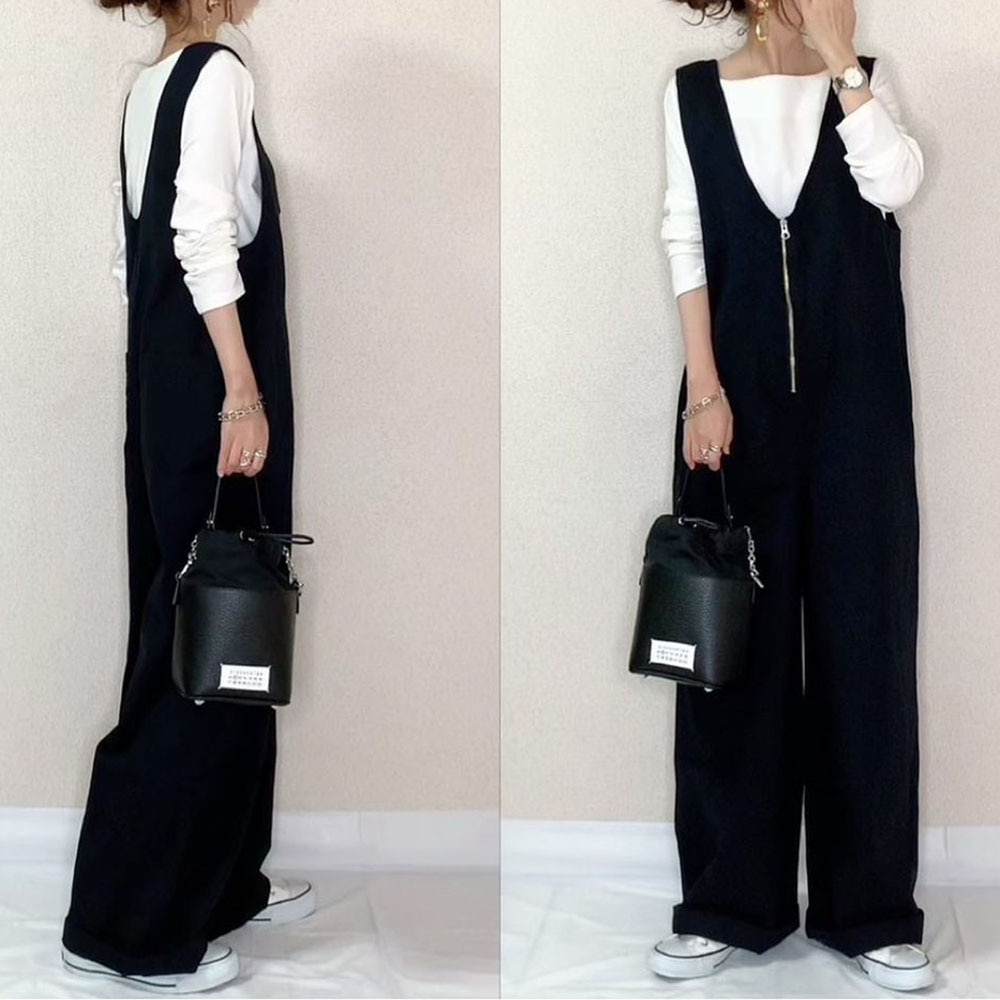 Jumpsuit For Women Korean Style Plain Zippered Trousers Ladies Fashion Loose All-in-one Black Zipper