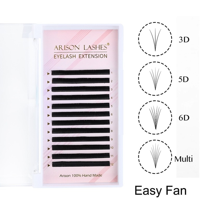 12Rows Mink Hair Eyelash Extensions Soft Natural Blooming Volume Eyelashes Auto Fans Camellia Individual Lash Extension Supplier
