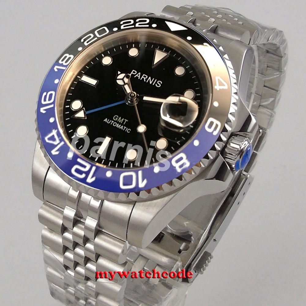 40 мм PARNIS черный циферблат Бэтмен керамический ободок юбилейный браслет сапфировое стекло GMT автоматические мужские часы