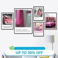 Toile de decoration de noel  affiches de peinture de Style rose  tableau dart mural de voiture pour decoration de salon  decoration de maison