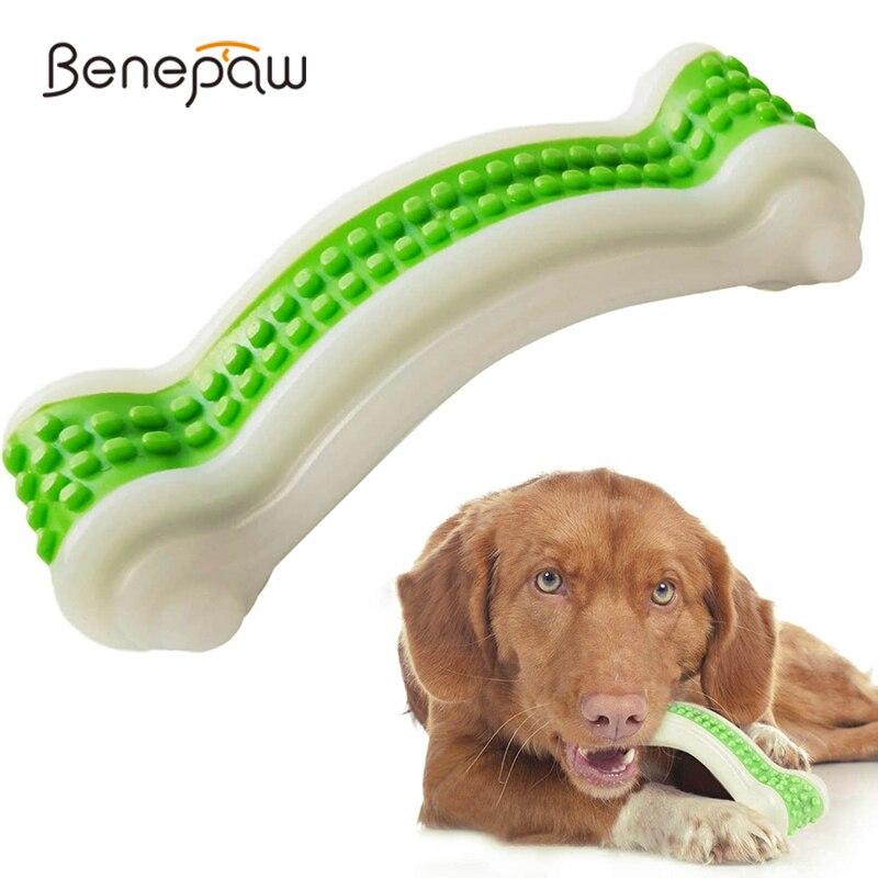 Benepaw no tóxico hueso de perro juguetes mordedura resistente seguro juguete masticable para mascotas para pequeños perros grandes cuidado Dental de piel de vaca de sabor cachorro juego
