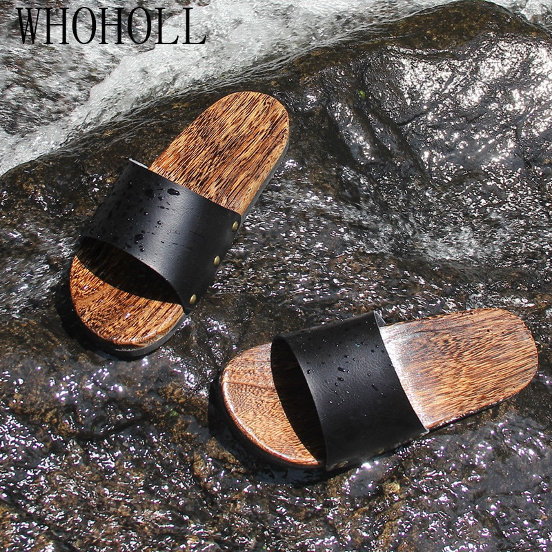 WHOHOLL Geta Man's Summer Slippers Non-slip Beach Mens Wooden Cool Deodorization Clogs Outdoor