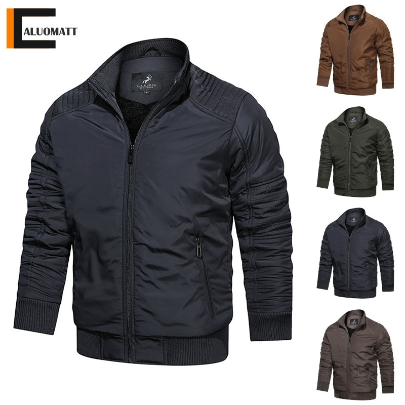 2021 New Mens Winter Jacket Coat Warm Slim Casual Men Parka Solid Color Zipper Outerwear Thicken Windproof Jackets Overcoat Men