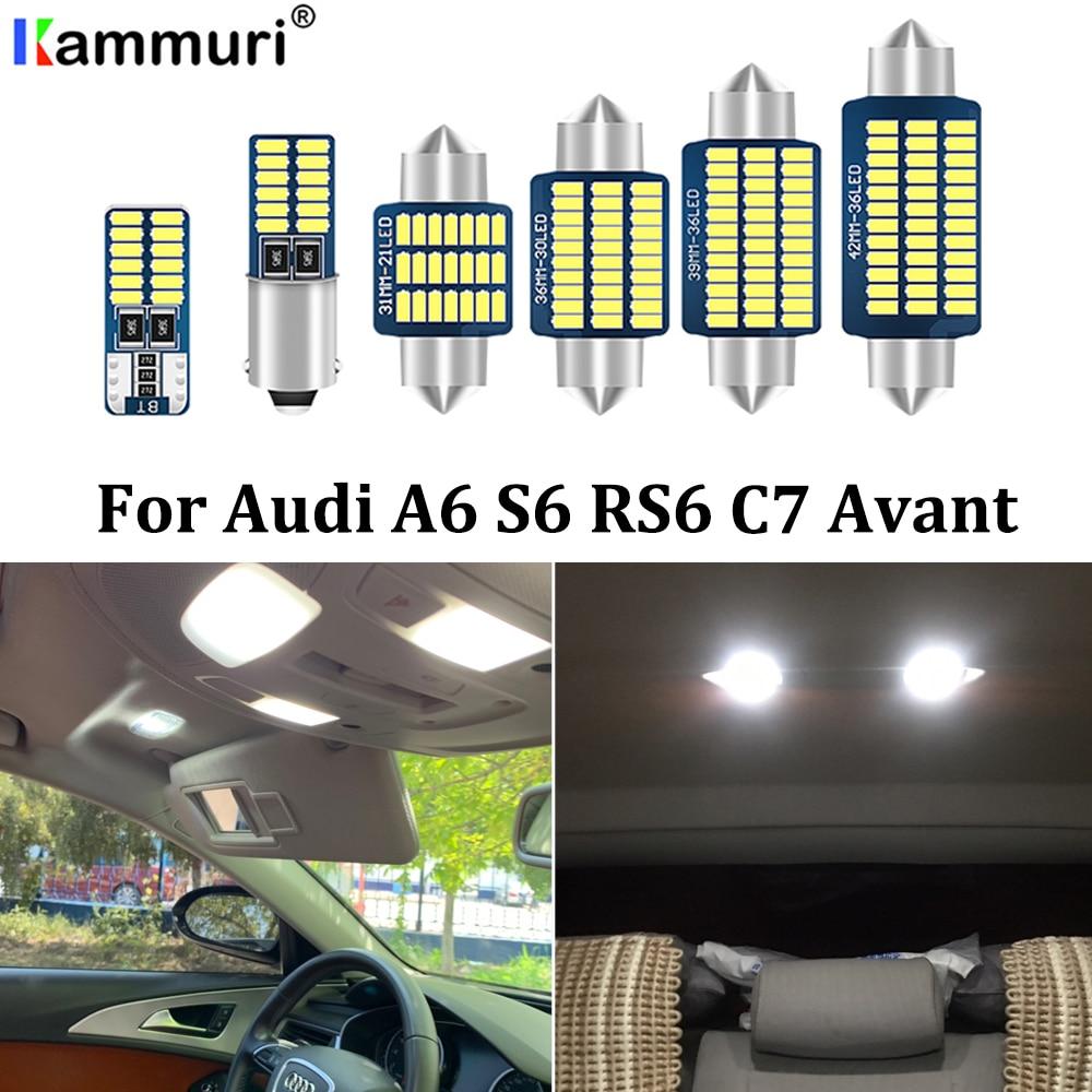 KAMMURI, 17 piezas, domo Interior sin Error + espejo de tocador + maletero + puerta + guante, Kit de luz LED para Audi A6 S6 RS6 C7 Avant Wagon 2012 +