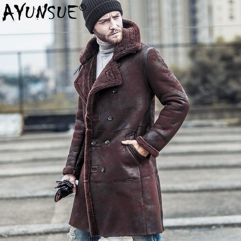 AYUNSUE-سترة شتوية من جلد الغنم الطبيعي للرجال ، معطف طويل ، سترة دافئة عتيقة ، Wp17a457