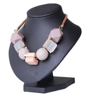 wood round beaded pendant necklace trendy sweater chain geometric statement necklace jewelry accessories for women