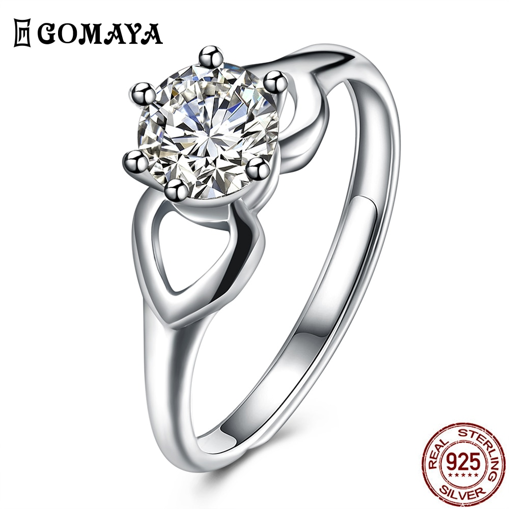 GOMAYA Engagement Circle Zircon Ring 925 Sterling Silver Heart Love Wedding Rings For Women Fine Jewelry Gift Send To Girlfriend