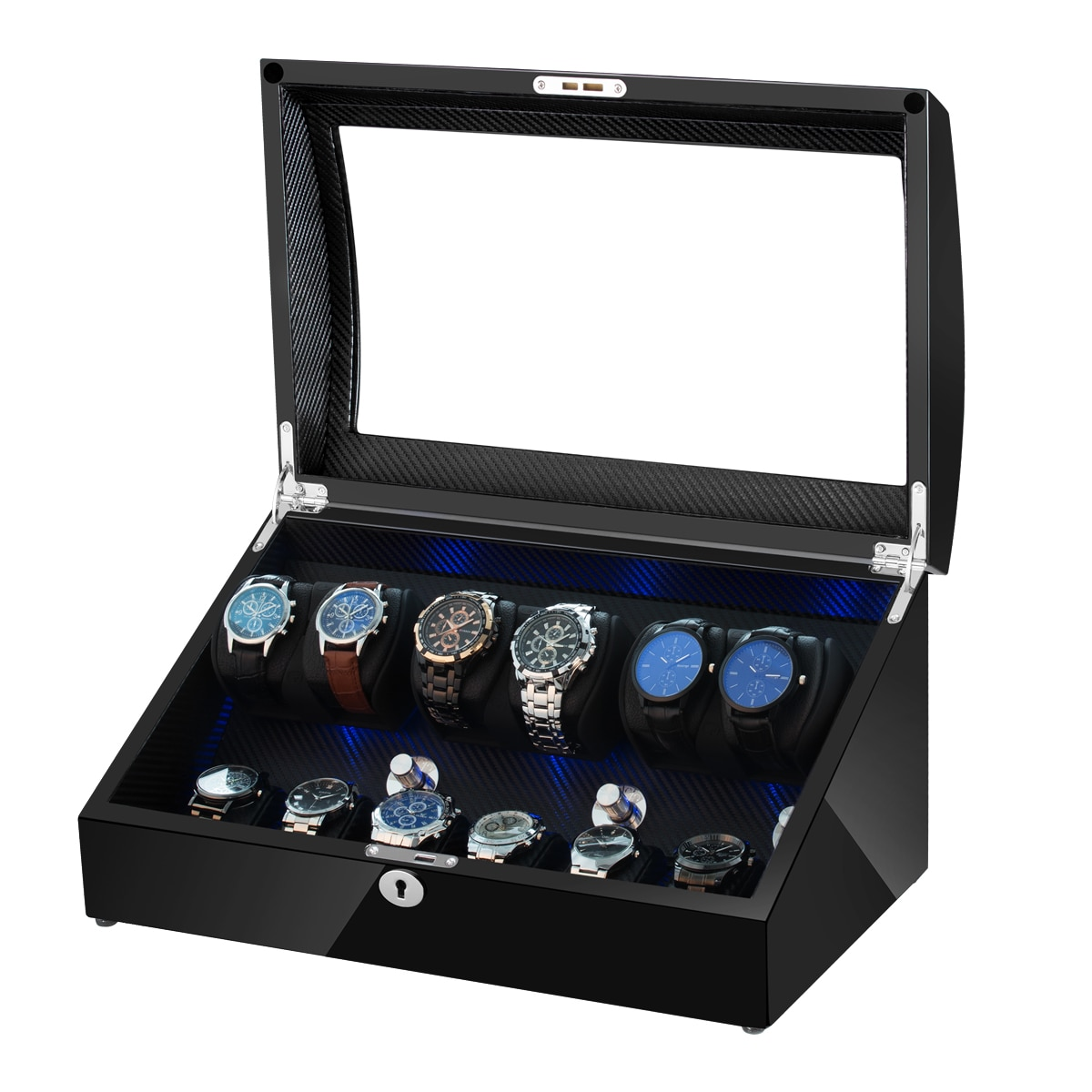 6+6 Automatic Watch Winder Box PE Leather Watch Winding Winder Storage Watch Box Collection Display Quiet Motor With LED Light
