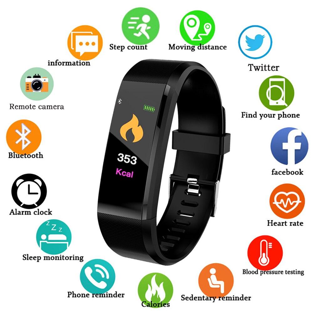 Смарт-браслет 115 Plus монитор сердечного ритма фитнес-трекер артериального давления Смарт-часы спортивные часы 115 plus водонепроницаемый брасл...