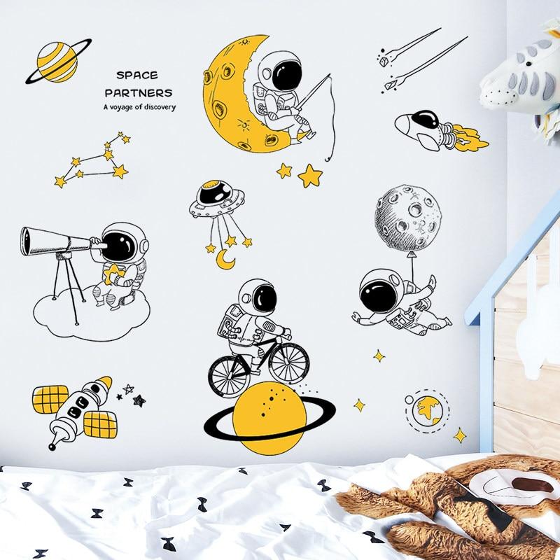 Creative Cartoon Astronauts Wall Stickers For Kids Room Boy Bedroom Wall Decor Self Adhesive Stickers Room Decoration Home Decor