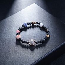 Bracelets Women Men Planets Solar System Stone Gift Stretch Bangle Jewelry Couple Bracelet Turquoise