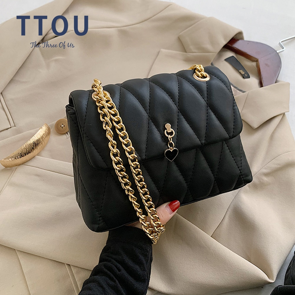Elegant Chain Women Shoulder Bag Plaid Fashion Flap Lady Messenger Crossbody Bag Casual Trend Female Design PU Leather Handbag women s luxury designer elegant pu classic quilted vintage shoulder bag chain flap crossbody bag handbag office daily fashion