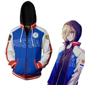 Anime YURI!!! on ICE Cosplay Zipper Hoodies Sweatshirts Autumn Mens Yuri Plisetsky Harajuku Hooded Jackets Coat Tops For Women