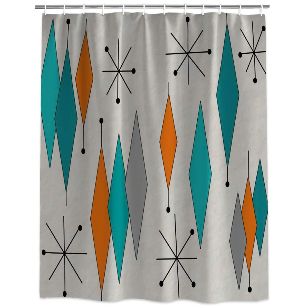 Cortina de ducha para baño, anillos de ducha de tela de poliéster impermeables con patrón de diamante moderno de mediados de siglo incluidos 66x72inch