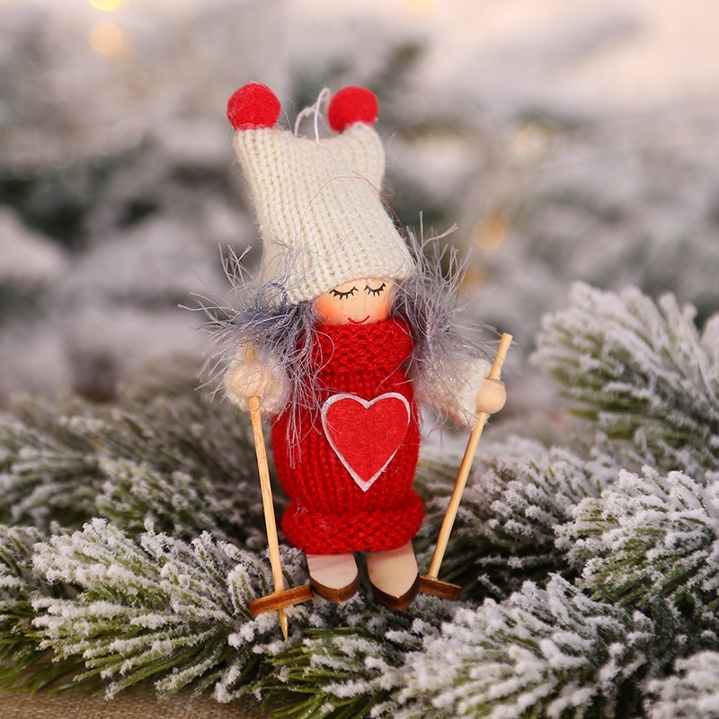 クリスマスの装飾の天使サンタクローススキー人形クリスマスツリーの装飾ナヴィダード装飾品 Kerst 装飾新年のギフトノエル