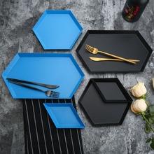 Polygon Jewelry Display Plate Desktop Combination Storage Tray Nordic Geometric Diamond Metal Hexagonal Cake Fruit Dish Plate