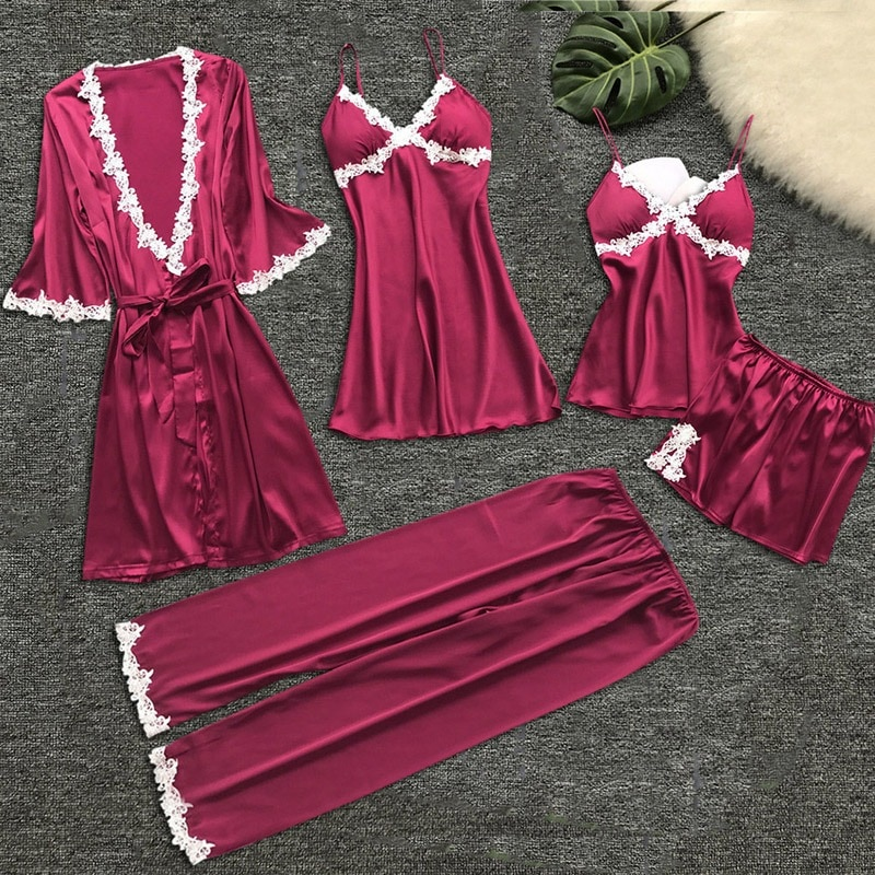 5 Piece Pajamas Set Sexy Lace Women Pajamas Faux Silk Dressing Gown Lace Summer Robe Sleepwear With