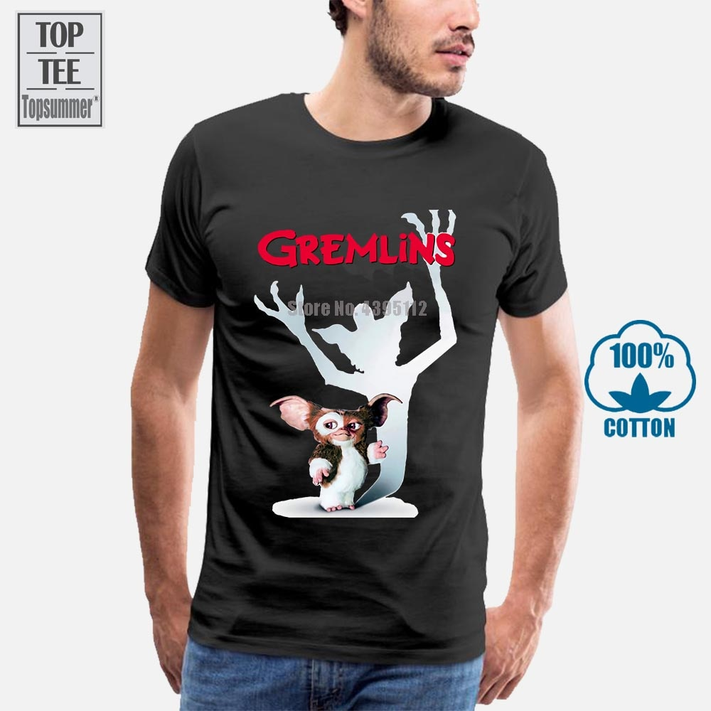Camisa de t masculina gremlins gizmo filme cartaz branco impresso camiseta feminino
