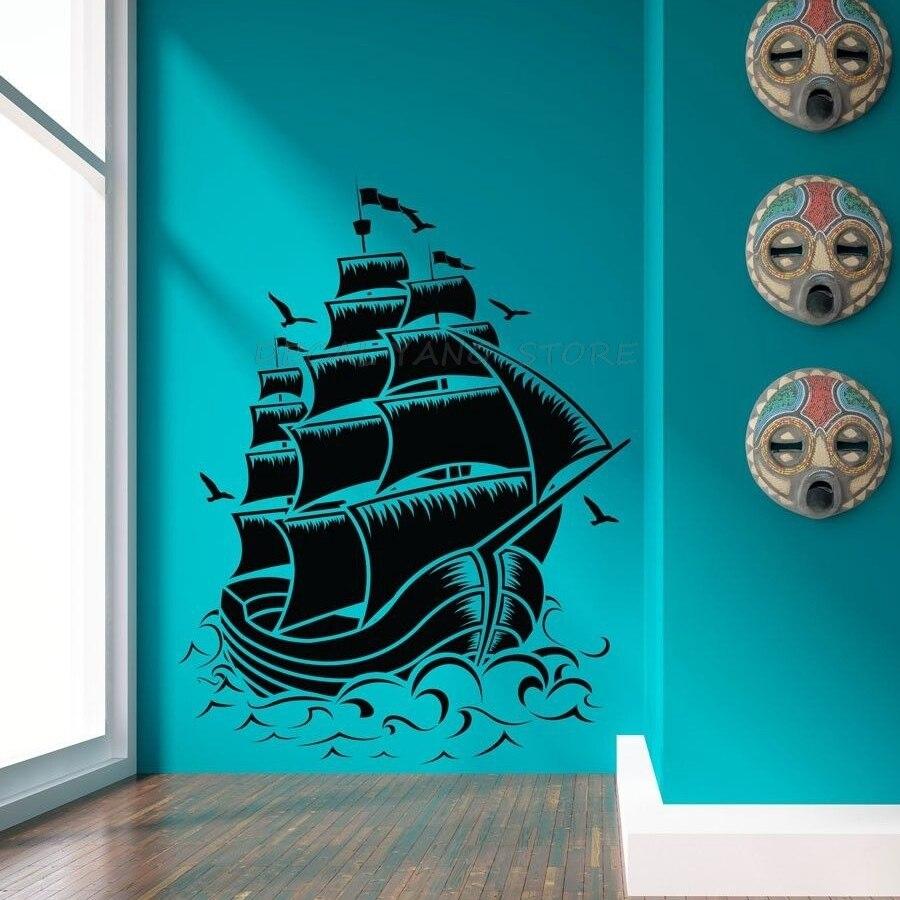 Freies verschiffen große größe Retro PIRATEN SCHIFF SEGEL BOOT VINYL Wand Aufkleber NAUTISCHEN MEER Vinyl Wand Kunst OZEAN Aufkleber, 1379