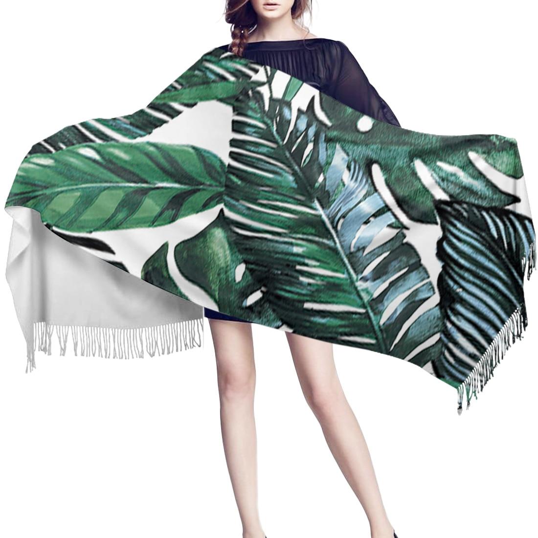 Invierno mujer bufanda Tropical planta Banana hoja verde cálido cachemir bufandas con chales Pashmina con borlas Mujer hombres señora envoltura