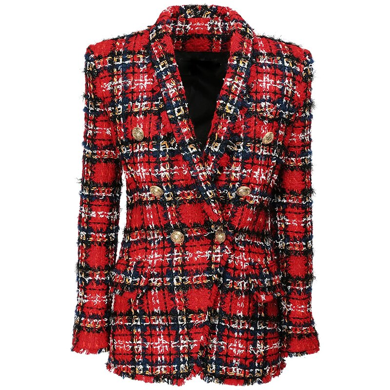 Newest 2021 Designer Jacket Women's Double Breasted Shawl Collar Tassel Fringed Plaid Tweed Blazer