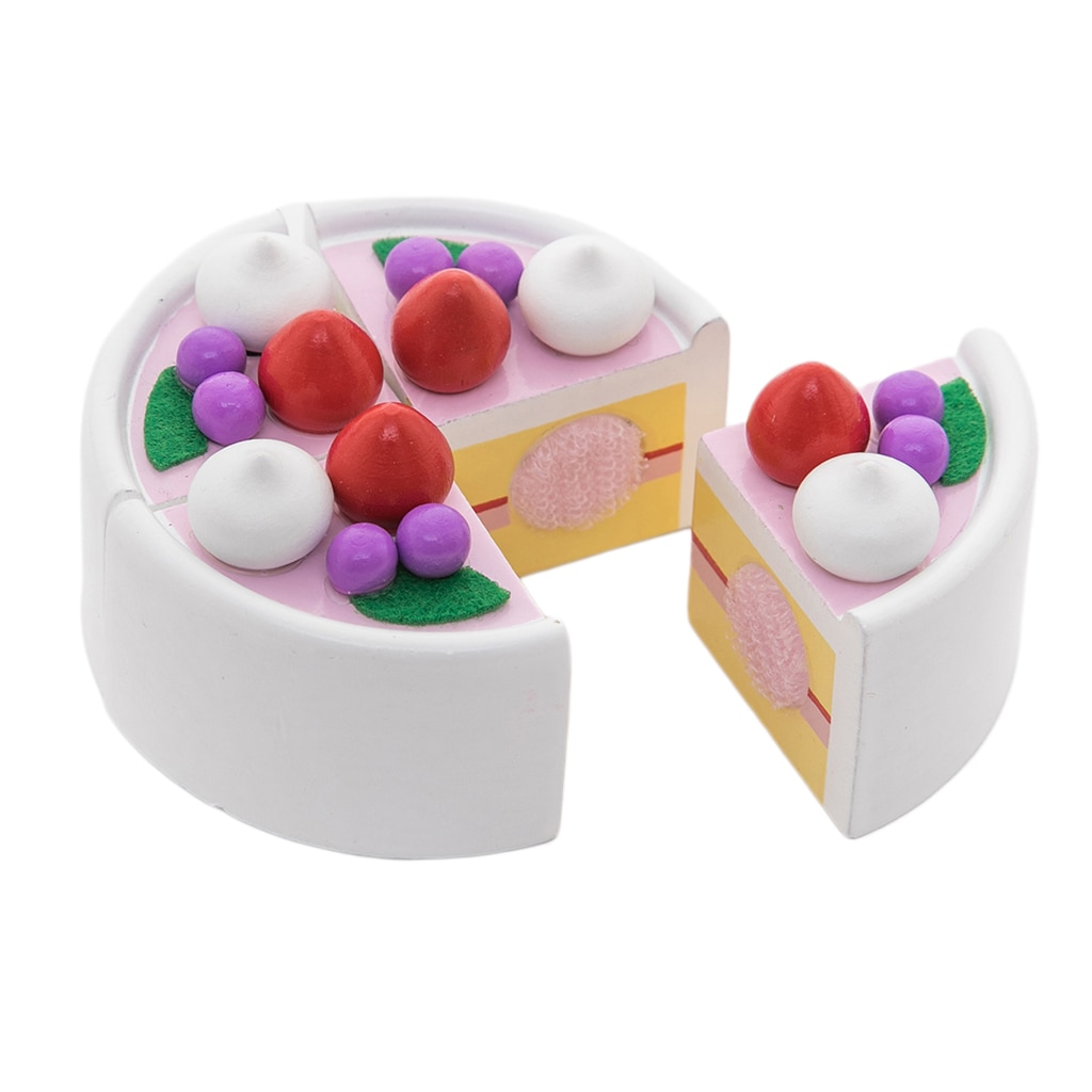 Birthday Fruit Cake Child Play Food Kitchen Food Pretend Role Toy Cutting Game Set
