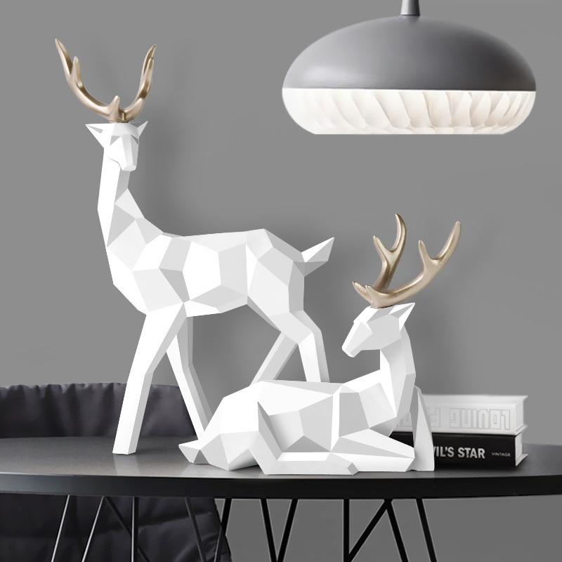 Статуя оленя из смолы, Скандинавское украшение для домашнего декора, статуи, фигурки оленя, современные украшения для стола
