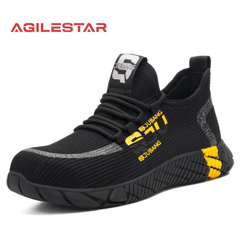 Chaussures de sécurité en maille respirante pour hommes, baskets légères avec bout en acier Indestructible, bottes de travail souples Anti-perçage, grande taille 37-48, nouvelle collection 2021