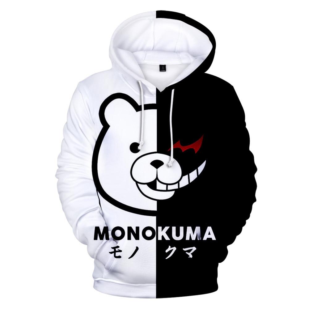 Anime Super Dangan Ronpa Danganronpa Mono Kuma Monokuma blanco negro oso Cosplay disfraz 3D impreso Unisex sudaderas