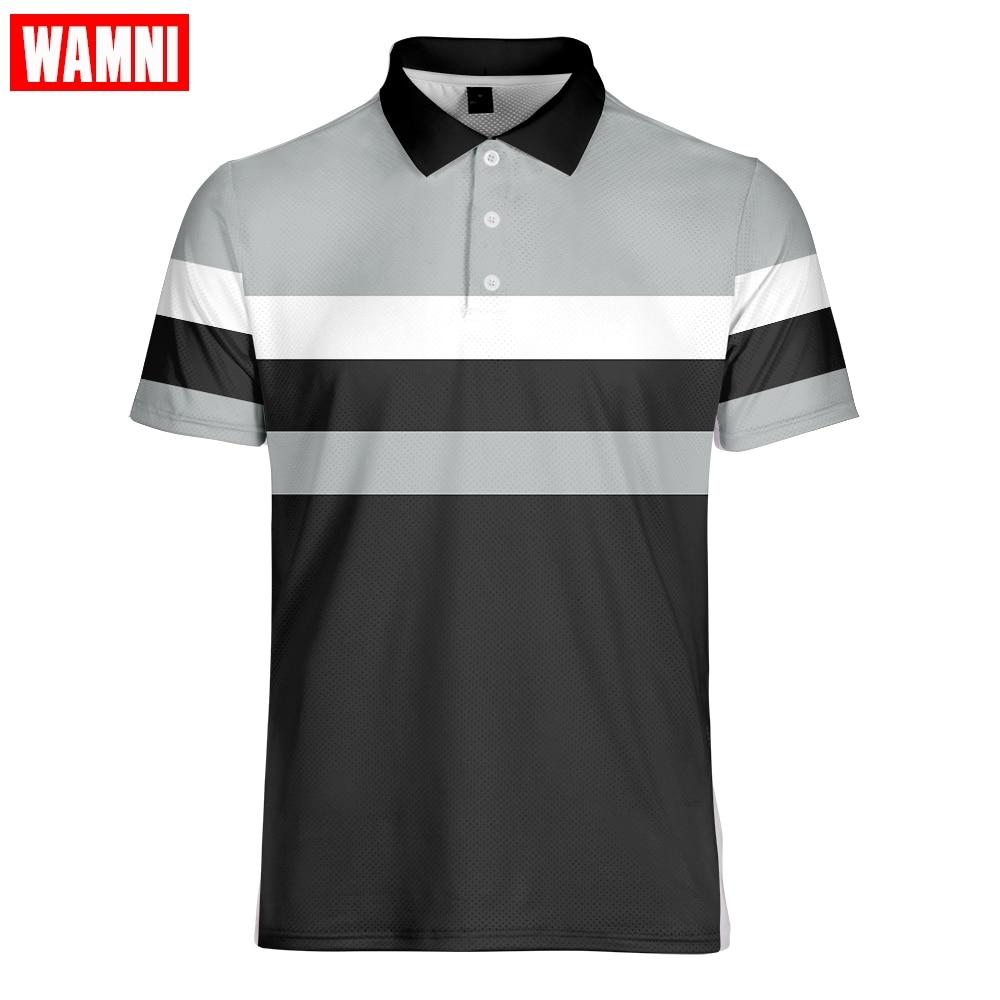 Camiseta de tenis 3D marca WAMNI, Camiseta deportiva holgada Harajuku de rayas multicolor, ropa de calle informal, Top de tenis Tabal